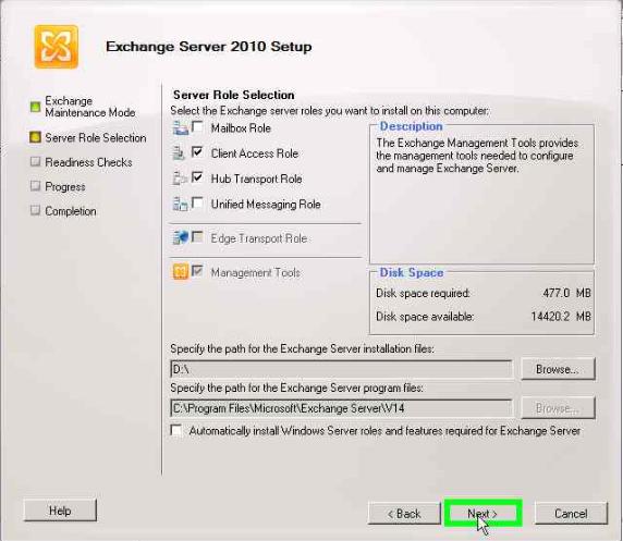 Installing Exchange Server 2010