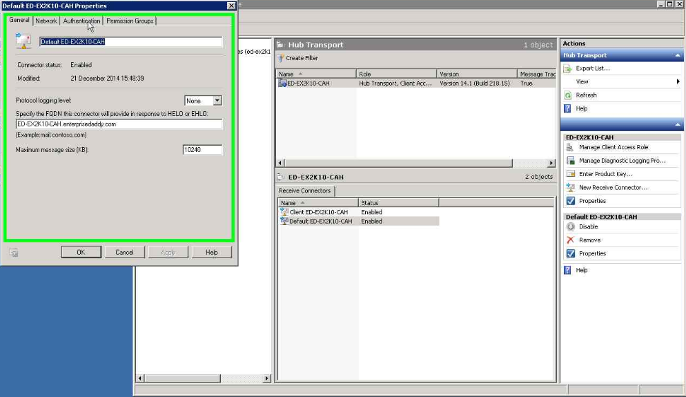 Configure Send and Receive connectors in Exchange Server 2010