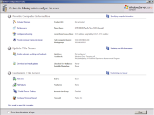 Initial Configuration Task Window