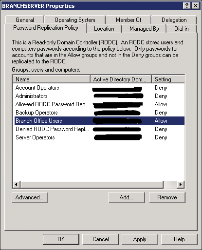 Configuring Password Replication Policy for Read Only Domain Controllers
