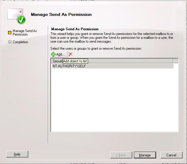 Grant Send As permission in Exchange Server 2010