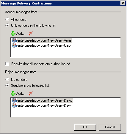 Accept Messages from specific mailbox in Exchange Server 2010