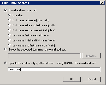 Exchange Server 2010 Email Address Policies