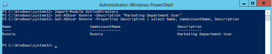 Powershell - How to change AD user description field