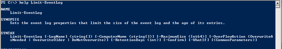 Powershell - How to change Event Log File Size