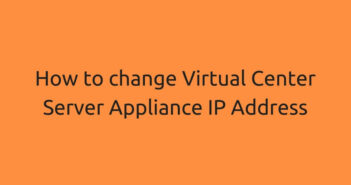 How to change VCSA IP Address