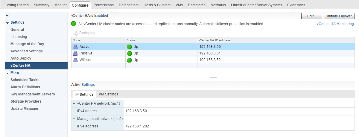 vSphere 6.5 - vCenter High Availability (VCHA) Deployment