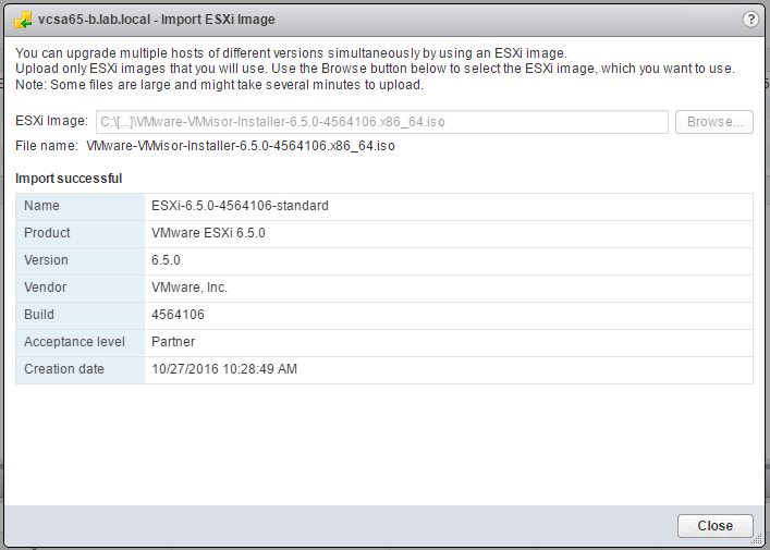 Upgrade ESXi 6.0 to ESXi 6.5 using VMware Update Manager