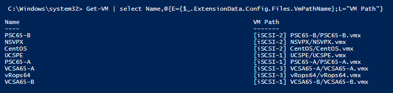 Find Virtual Machine Configuration File Path using Powercli