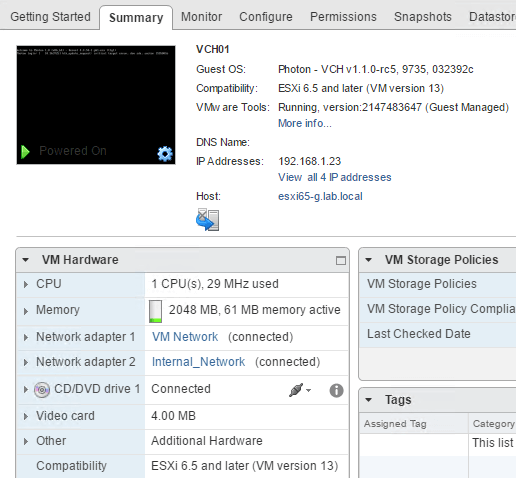 Create Virtual Container Host VCH