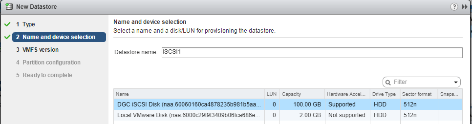 iSCSI EMC UnityVSA
