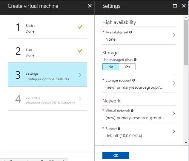 Create Azure VM from portal