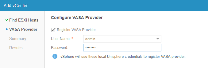 Configure vVOLs using EMC UnityVSA