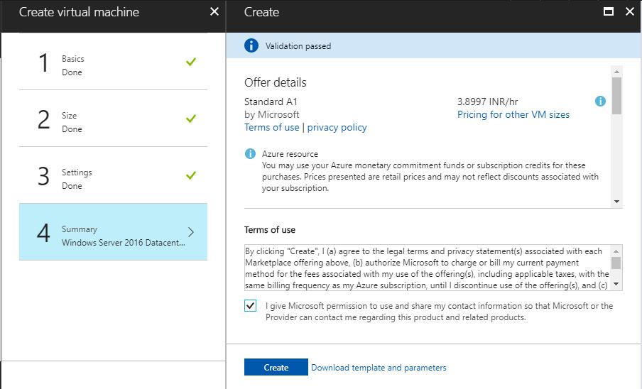 Create an Azure VM from Azure Portal
