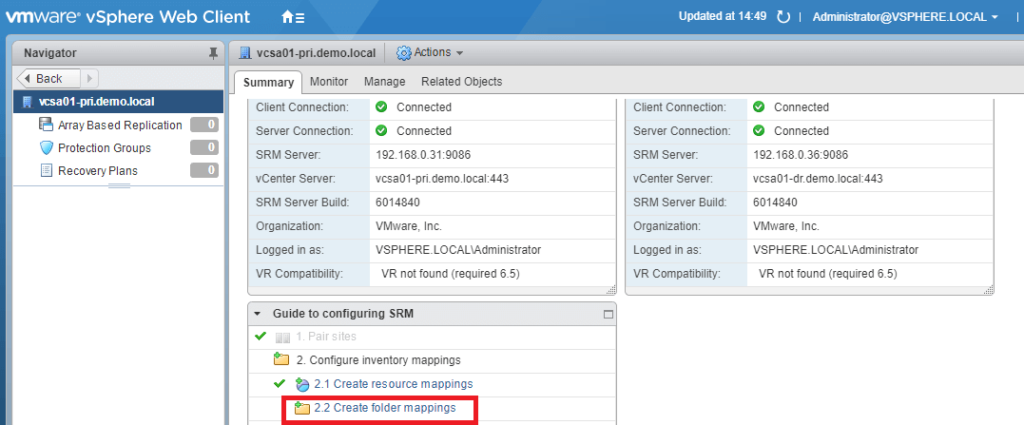 VMware Site Recovery Manager (SRM 6.5) Part 5 - Create Folder Mappings