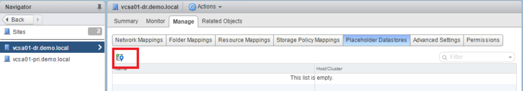 VMware Site Recovery Manager (SRM 6.5) Part 7 - Create Placeholder datastore