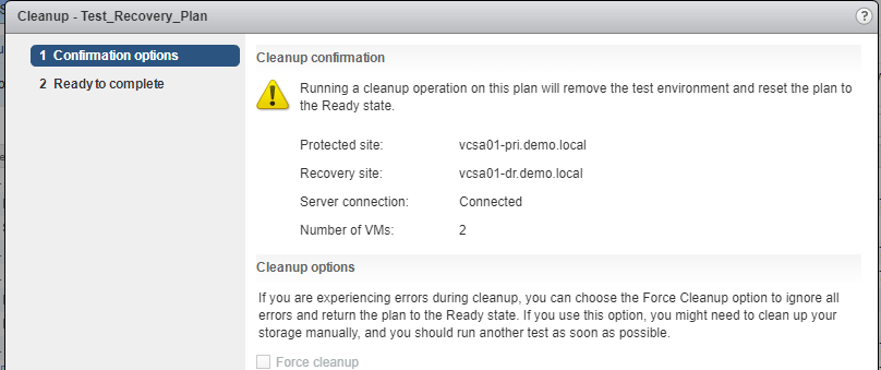 VMware Site Recovery Manager (SRM 6.5) Part 13 - Recovery test clean up