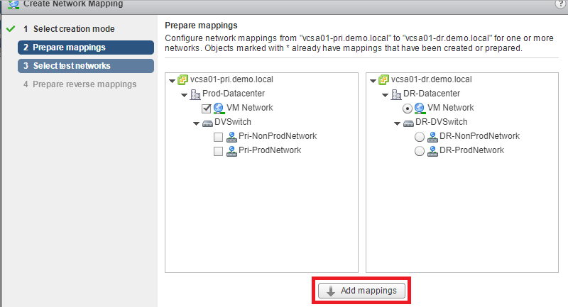 VMware SRM 6.5 - Create Network Mappings
