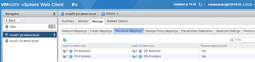 VMware Site Recovery Manager (SRM 6.5) Part 4 - Create Resource Mappings