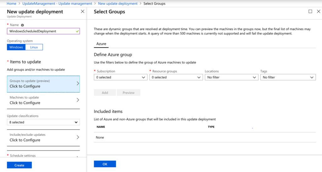 Azure Update Management Part 3 - Schedule an Update Deployment